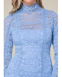 Bebe - Blue Molly Lace High Neck Dress - Lyst