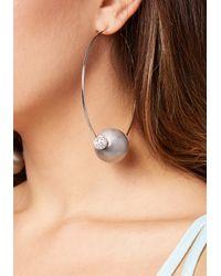 Bebe - Metallic Bead Hoop Earrings - Lyst