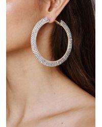 Bebe - Metallic Crystal Mega Hoop Earrings - Lyst