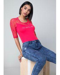 Bebe - Pink Logo Lace Yoke Top - Lyst