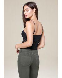 Bebe - Black Lace Strappy Bodysuit - Lyst