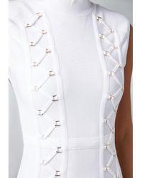 Bebe - White Zigzag Detail Dress - Lyst