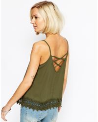 Vero Moda - Green Lace Detail Cami Top - Lyst