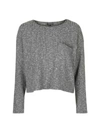 TOPSHOP - Gray Slouchy Pocket Top - Lyst