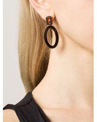 Rebecca   Metallic 'Elizabeth' Circle Drop Earrings   Lyst