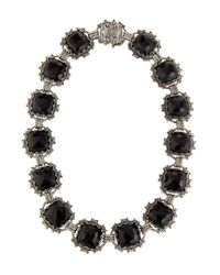 Konstantino - Metallic Carved Silver & Onyx Collar Necklace - Lyst