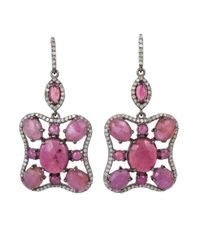 Bavna | Pink Sterling Silver Earrings With Ruby, Sapphire, Tourmaline & Pave Dia | Lyst