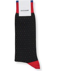 Duchamp | Blue Dotted Cotton-blend Socks for Men | Lyst