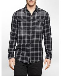 Calvin Klein | Black White Label Slim Fit Tartan Plaid Cotton Shirt for Men | Lyst