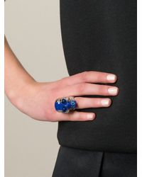 Alexander McQueen - Blue Skull Cocktail Ring - Lyst
