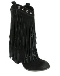 Naughty Monkey | Black Kickin In Frindged Suede Mid-calf Boots | Lyst