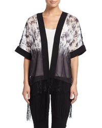 Neiman Marcus | Gray Floral-print Lacy Fringe Kimono | Lyst