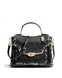 COACH | Black Madison Small Sadie Flap Satchel in Two-tone Python Embossed Leather | Lyst