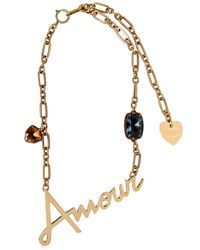 Lanvin | Metallic Amour & Swarovski Necklace | Lyst
