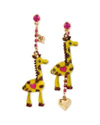 Betsey Johnson | Metallic Antique Goldtone Giraffe Mismatch Linear Earrings | Lyst