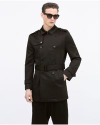 Zara | Black Double Breasted Trench Coat for Men | Lyst