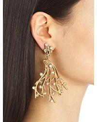 Oscar de la Renta - Metallic Swarovski Crystal Vine Earrings - Lyst