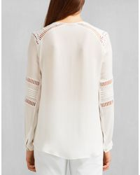 Belstaff - Ursula V-neck Shirt In Off White Washed Silk Georgette - Lyst