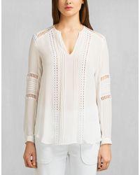 Belstaff - Ursula V-neck Shirt In Off White Washed Silk Georgette - Lyst