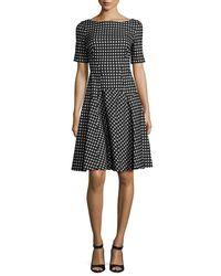 Lela Rose | Black Reversible Gingham Jacquard Boat-neck Dress | Lyst