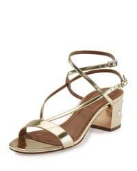 Aquazzura   Metallic Sunset Siren Strappy Block-heel Sandal   Lyst