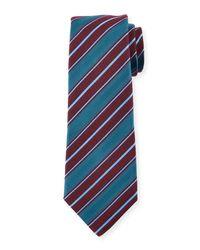 Kiton - Blue Woven Textured-stripe Silk Tie for Men - Lyst