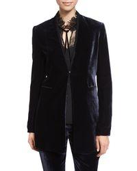 Elie Tahari - Black Antoinette Long High-sheen Blazer Jacket - Lyst