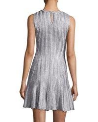 Alexander McQueen   Metallic Sleeveless Fit & Flare Dress   Lyst