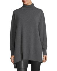 Lafayette 148 New York - Gray Relaxed Asymmetric Cashmere Turtleneck Sweater - Lyst