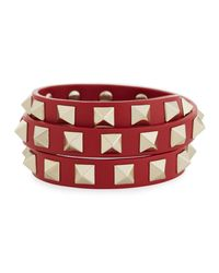 Valentino | Red Triple-wrap Leather Bracelet | Lyst