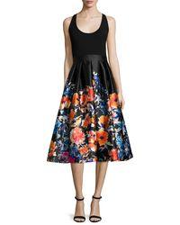 Carmen Marc Valvo - Black Sleeveless Combo Floral Midi Cocktail Dress - Lyst