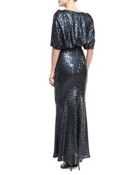 Talbot Runhof - Blue Lobata Cape-sleeve Sequined Gown - Lyst