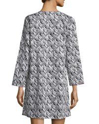 Oscar de la Renta - Multicolor Herringbone Stripe Nightgown - Lyst