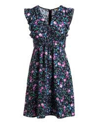 Rebecca Taylor Blue Ruby Floral-print V-neck Sleeveless Day Dress