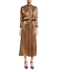Nina Ricci | Brown Striped Silk Midi Dress | Lyst