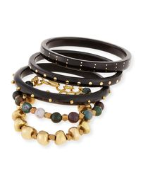 Ashley Pittman - Black Mwisho Dark Horn Bangles - Lyst