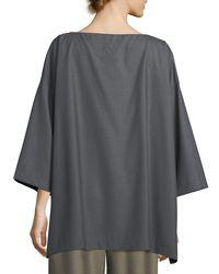 Eskandar - Gray Slim A-line 3/4-sleeve Top - Lyst