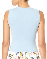 Carolina Herrera - Blue Crewneck Sleeveless Knit Shell - Lyst