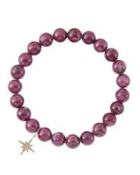 Sydney Evan   Red 8Mm Natural Ruby Beaded Bracelet With 14K Gold/Diamond Small Starburst Charm (Made To Order)   Lyst