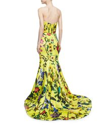 Monique Lhuillier | Yellow Strapless Garden Floral-print Gown | Lyst