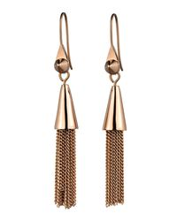 Eddie Borgo - Metallic Small Rose Gold Plated Chain Tassel Drop Earrings - Lyst