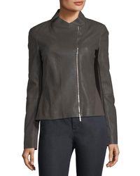 Lafayette 148 New York - Black Alice Weathered-leather Jacket - Lyst