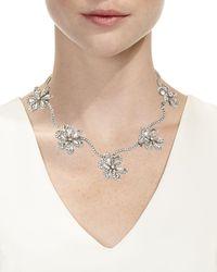 Oscar de la Renta - Metallic Crystal Delicate Flower Necklace - Lyst