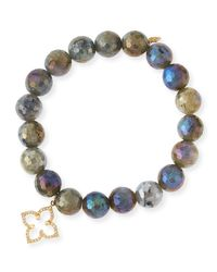 Sydney Evan   Multicolor Coated Labradorite Faceted Bead Bracelet With Diamond Moroccan Flower Charm   Lyst