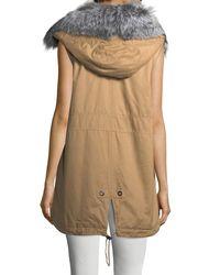 10 Crosby Derek Lam - Natural Cotton Zip-front Utility Vest W/ Fur Trim - Lyst