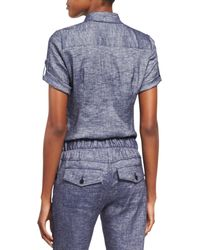 Theory | Blue Pauleen Tierra Washed Denim Top | Lyst