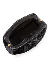 Nancy Gonzalez - Black Ruched Crocodile Clutch Bag - Lyst