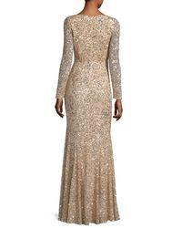 Rachel Gilbert - Metallic Long-sleeve Sequined V-neck Gown - Lyst