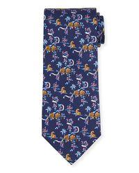 Ferragamo - Blue Jungle-print Silk Tie for Men - Lyst