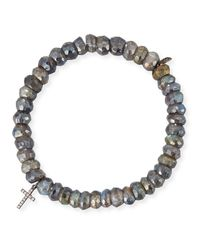 Sydney Evan - Multicolor 8mm Labradorite Beaded Bracelet With Diamond Cross Charm - Lyst
